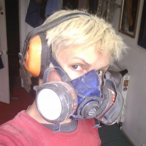 selfie of Frank Duffy in filter safety mask and ear defenders