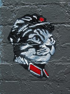Graffiti stencil of a tabby cat in a communist uniform - Chairman Meow