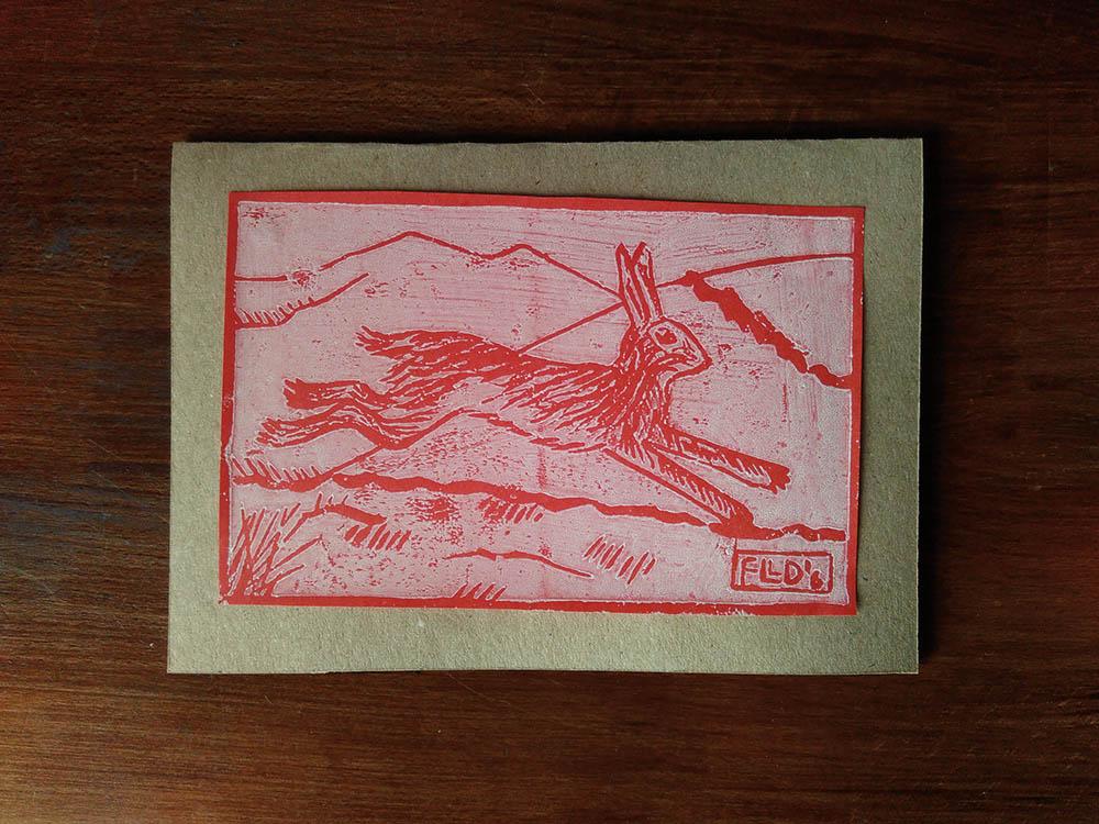 yule card hare linocut print