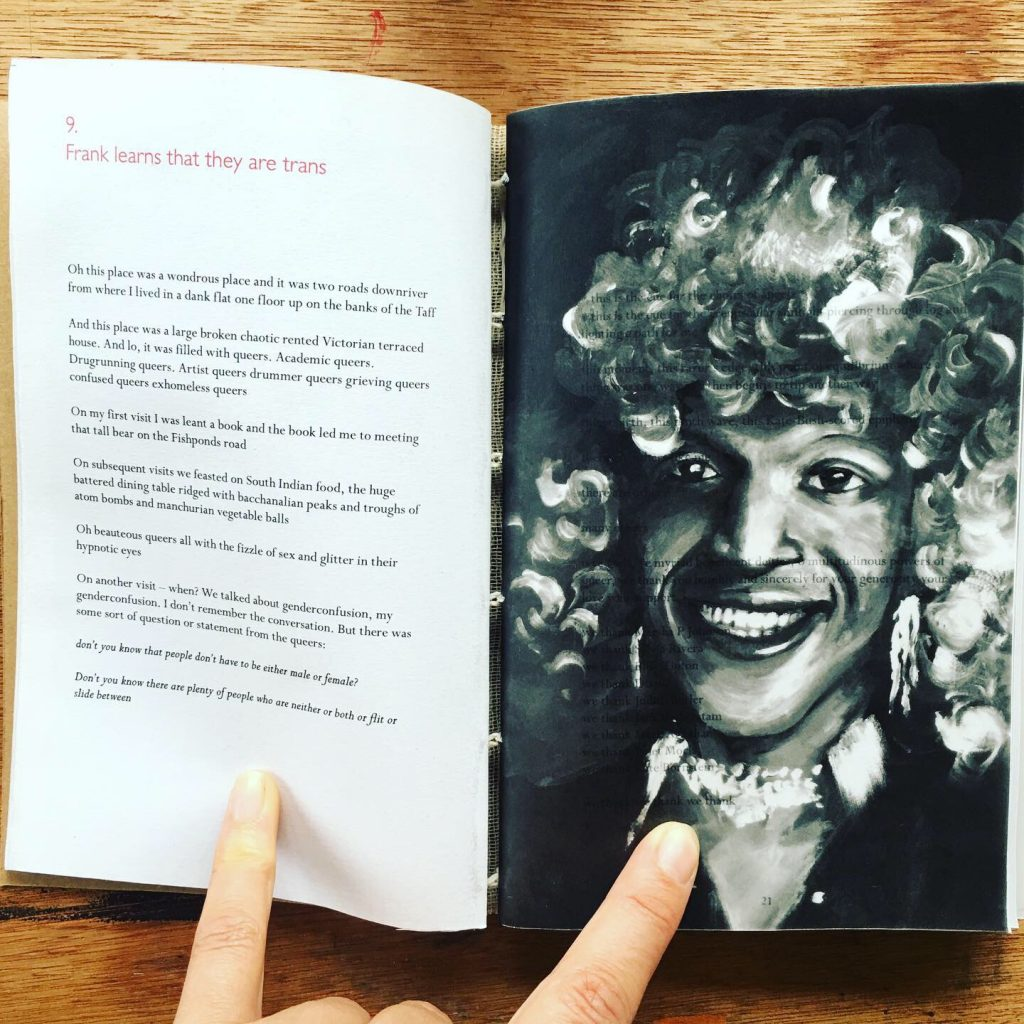 oil painting illustration portrait of Marsha P Johnson in book by illustrator Frank Duffy