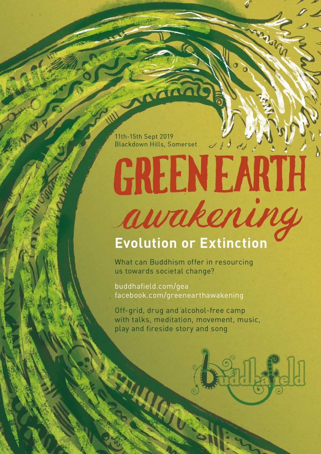 poster art, design, illustration for green earth awakening. A green wave breaking. Illustrator South Wales Cardiff Frank Duffy