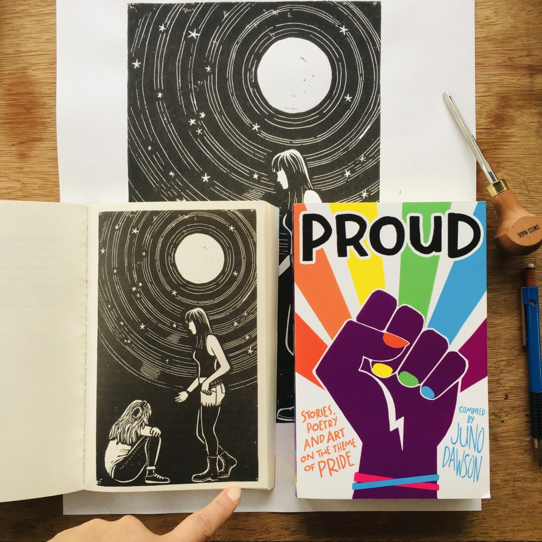 book cover featuring rainbow and raised fist, open book showing illustration of two lesbian girls under swirling full moon sky lino cut illustration