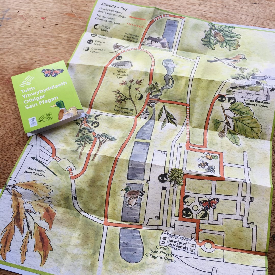 illustrated map z-fold designed for visitor attraction st fagans museum