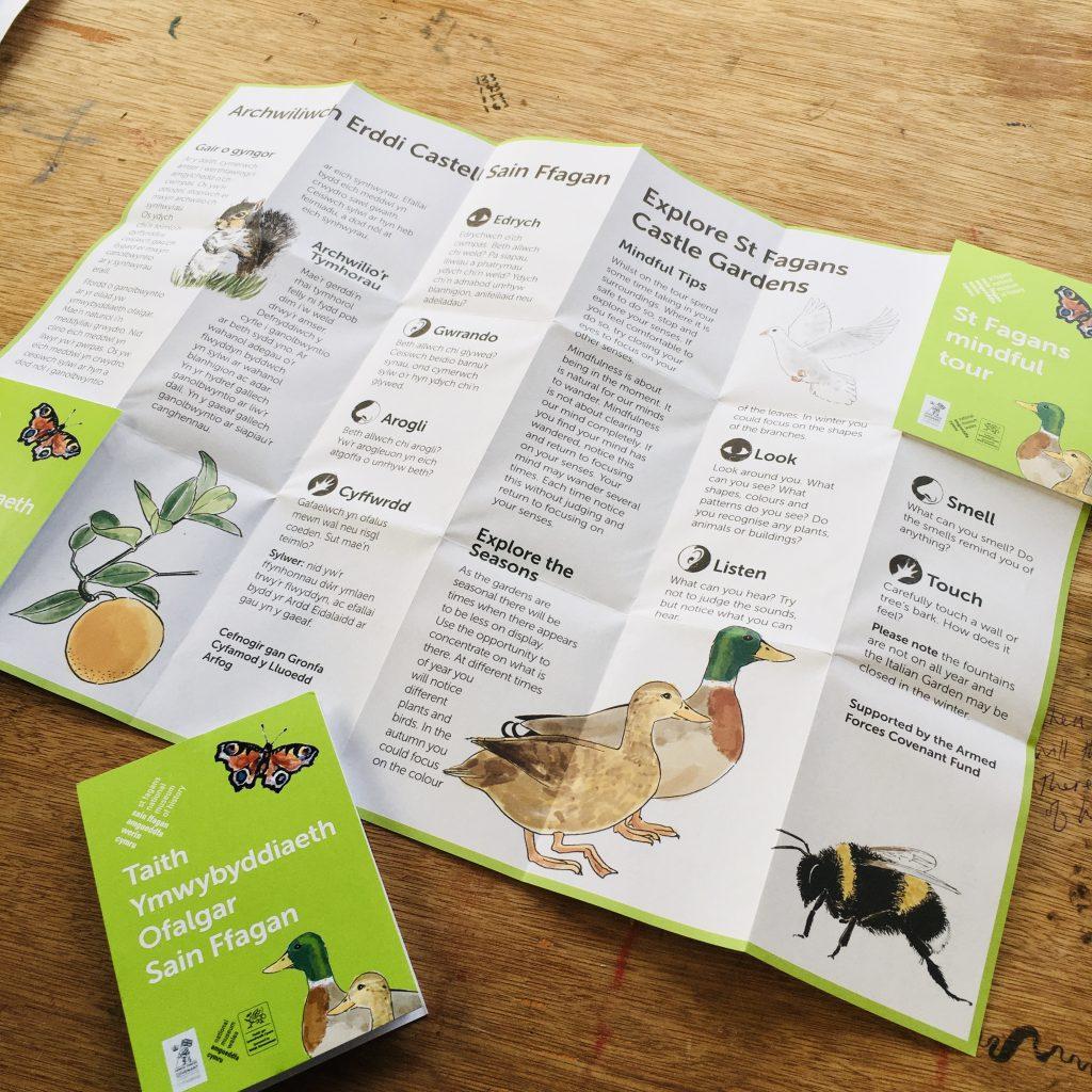 back of bilingial illustrated map showing wildlife illustrations