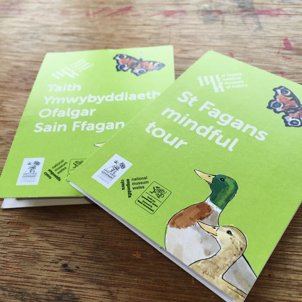 covers of illustrated maps in English and Welsh. Illustrated maps feature illustrations of ducks and butterfly